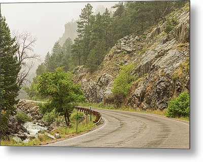 Metal Print featuring the photograph Rainy Misty Boulder Creek And Boulder Canyon Drive by James BO Insogna