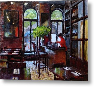 Rainy Morning In The Restaurant Metal Print by Peter Salwen