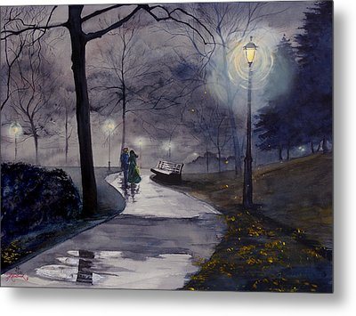 Rainy Night In Central Park Metal Print