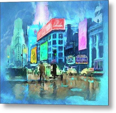 Rainy Night In New York Metal Print