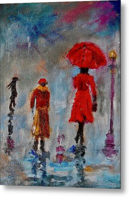 Metal Print featuring the painting Rainy Spring Day by Sher Nasser