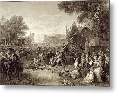 Raising The Liberty Pole 1776. An Metal Print by Vintage Design Pics
