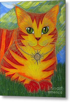 Metal Print featuring the painting Rajah Golden Sun Cat by Carrie Hawks