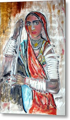 Rajasthani Woman Metal Print by Narayanan Ramachandran