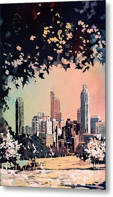 Metal Print featuring the painting Raleigh Skyline V by Ryan Fox