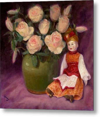 Metal Print featuring the painting Ramblin Rose by Donelli  DiMaria