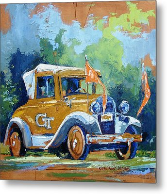Ga Tech Ramblin' Wreck - Part Of College Series Metal Print