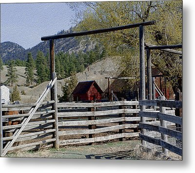 Ranch Fencing And Tool Shed Metal Print