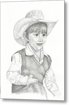 Metal Print featuring the drawing Ranch Hand by Mayhem Mediums