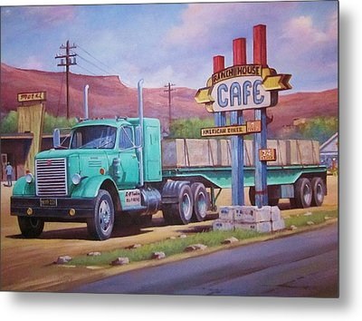 Metal Print featuring the painting Ranch House Truckstop. by Mike Jeffries