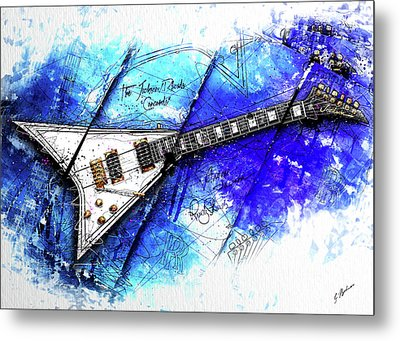 Randy's Guitar On Blue II Metal Print by Gary Bodnar