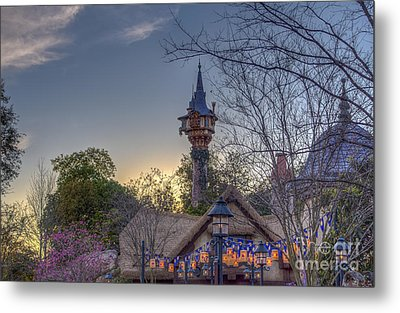 Rapunzel's Tower At Sunset Metal Print