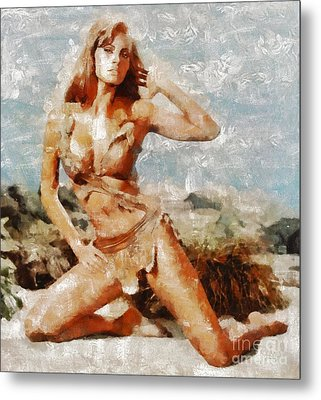 Raquel Welch Hollywood Actress Metal Print by Mary Bassett