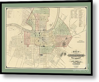 Rare Vintage Map Of Nashville Tennessee Metal Print by Pd