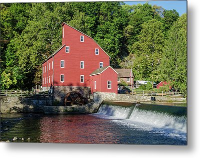 Rariton River And The Red Mill - Clinton New Jersey Metal Print by Bill Cannon