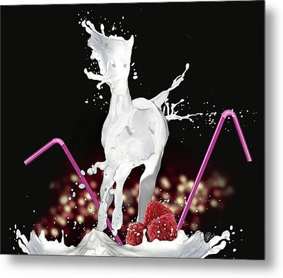 Raspberry Coctail And A Horse Metal Print