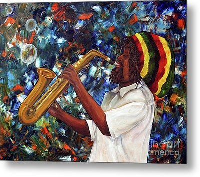 Metal Print featuring the painting Rasta Sax Player by Anna-maria Dickinson
