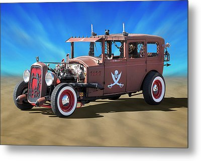 Metal Print featuring the photograph Rat Rod On Beach 3 by Mike McGlothlen