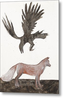 Raven And Old Fox Metal Print by Sophy White