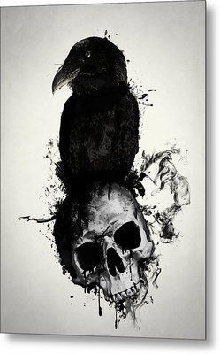 Raven And Skull Metal Print by Nicklas Gustafsson