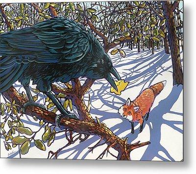 Raven And The Fox Metal Print
