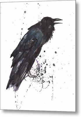 Raven  Black Bird Gothic Art Metal Print by Alison Fennell