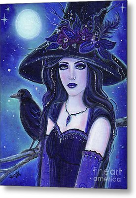 Raven Halloween Witch Metal Print by Renee Lavoie