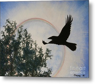 Raven Holds The Sun Metal Print by Stanza Widen
