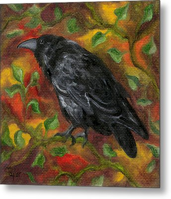 Raven In Autumn Metal Print by FT McKinstry