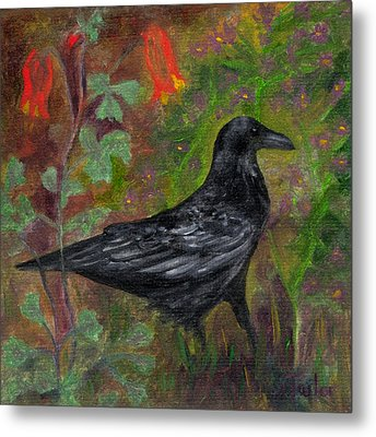 Raven In Columbine Metal Print by FT McKinstry