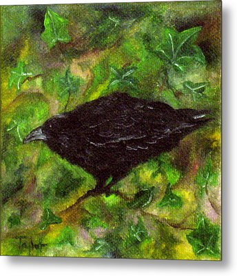 Raven In Ivy Metal Print by FT McKinstry