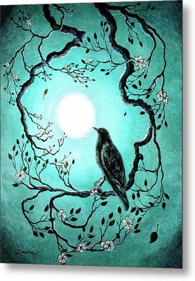 Raven In Teal Metal Print