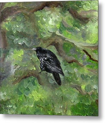 Raven In The Om Tree Metal Print by FT McKinstry