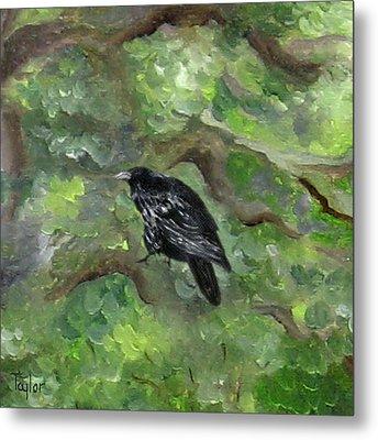 Raven In The Om Tree Metal Print