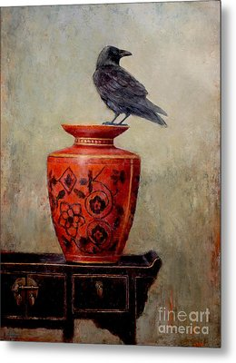 Raven On Red  Metal Print by Lori  McNee