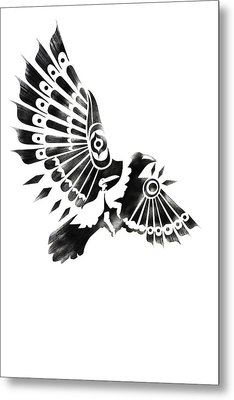 Raven Shaman Tribal Black And White Design Metal Print by Sassan Filsoof