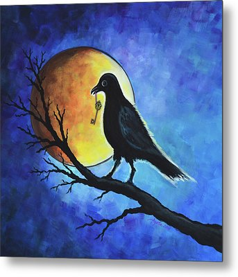 Raven With Key Metal Print