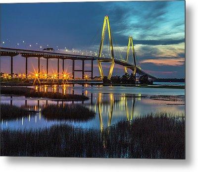 Ravenel Bridge Reflection Metal Print