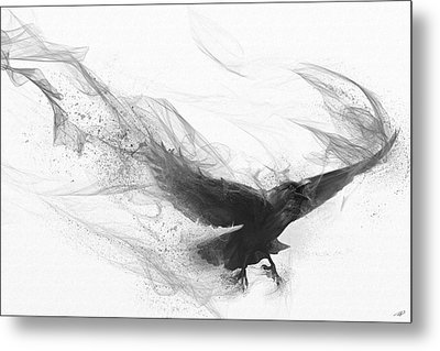 Metal Print featuring the digital art Raven's Flight by Steve Goad