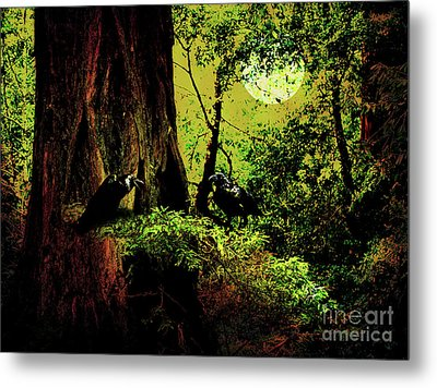 Ravens Of The Full Moon Night . 7d5443 Metal Print by Wingsdomain Art and Photography