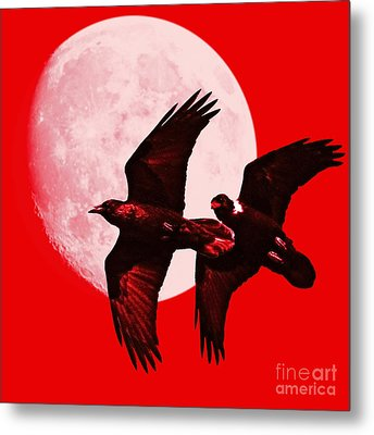 Ravens Of The Moon . Red Square Metal Print by Wingsdomain Art and Photography