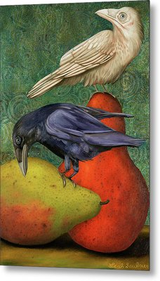 Ravens On Pears Metal Print by Leah Saulnier The Painting Maniac