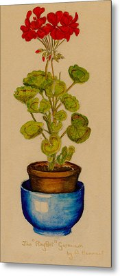 Metal Print featuring the painting Ray-bet Geranium by Betty Hammant