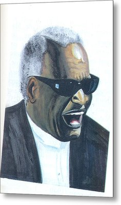 Metal Print featuring the painting Ray Charles by Emmanuel Baliyanga