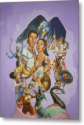 Metal Print featuring the painting Ray Harryhausen Tribute Seventh Voyage Of Sinbad by Bryan Bustard