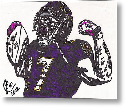 Metal Print featuring the drawing Ray Rice 1 by Jeremiah Colley