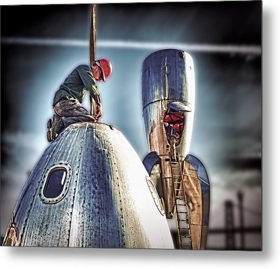 Metal Print featuring the photograph Raygun Gothic Rocketship Safe Landing by Steve Siri