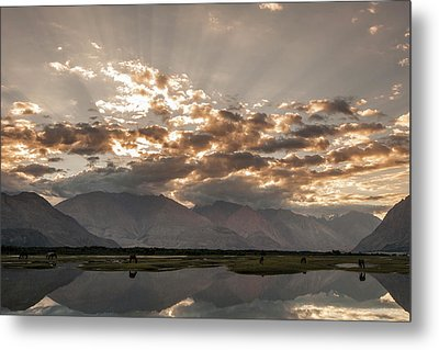 Metal Print featuring the photograph Rays And Reflection, Hunder, 2006 by Hitendra SINKAR