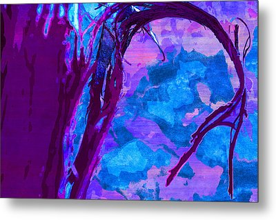 Reaching Into Blue Metal Print