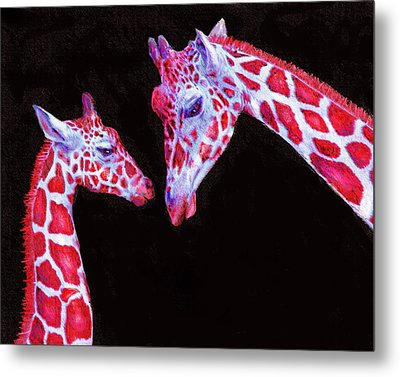 Metal Print featuring the digital art Read And Black Giraffes by Jane Schnetlage